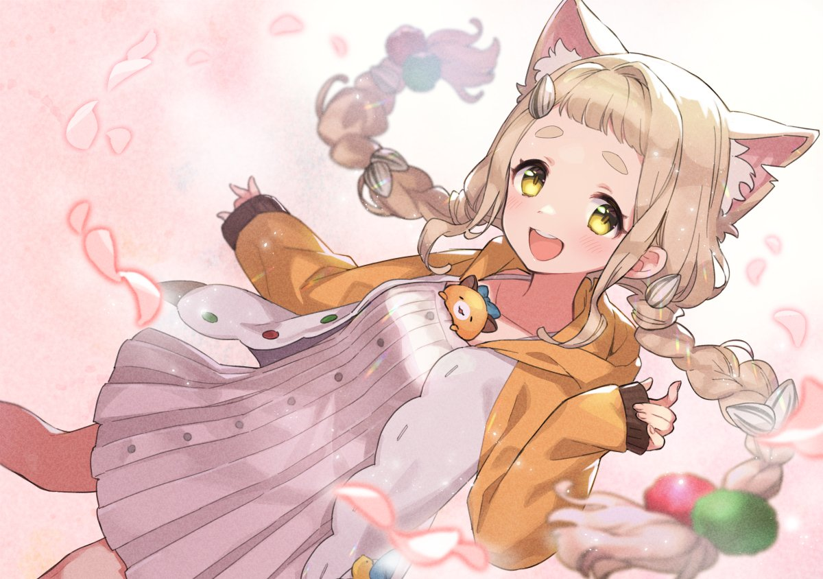 1girl ame8desu animal_ears bare_legs blonde_hair blush braid breasts cat_ears coat dress hair_ornament hand_up long_hair looking_at_viewer machita_chima mascot medium_breasts nijisanji open_mouth petals simple_background smile solo standing thick_eyebrows twintails virtual_youtuber