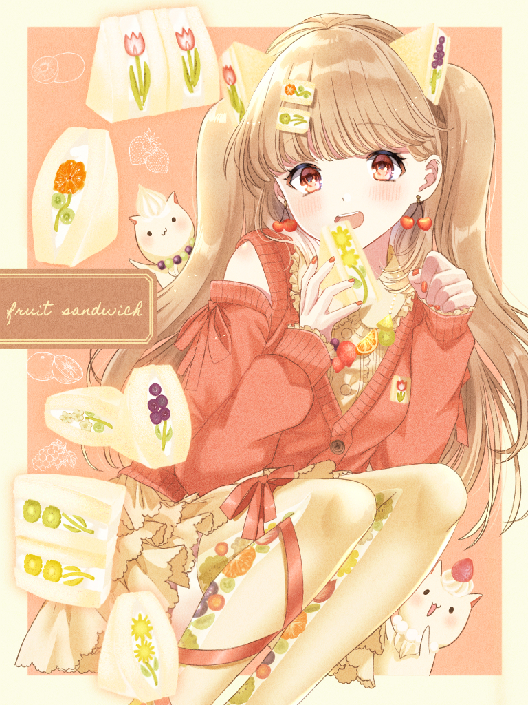 1girl arms_up bangs blueberry blush brown_hair cardigan cat cherry_earrings commentary dress earrings english_text eyebrows_visible_through_hair feet_out_of_frame flower food food_themed_earrings fruit fruit_pattern fruit_sandwich hair_ornament holding holding_food jewelry kiwi_slice konpeito1025 leg_ribbon long_hair looking_at_viewer necklace open_mouth orange orange_slice original print_legwear raglan_sleeves red_cardigan red_eyes ribbon sandwich squatting strawberry thigh-highs tulip upper_teeth very_long_hair whipped_cream white_dress white_legwear