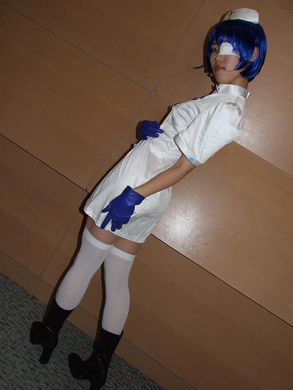 boots cosplay eyepatch gloves ikkitousen nurse nurse_uniform ryomou_shimei sakura_marimo thigh-highs