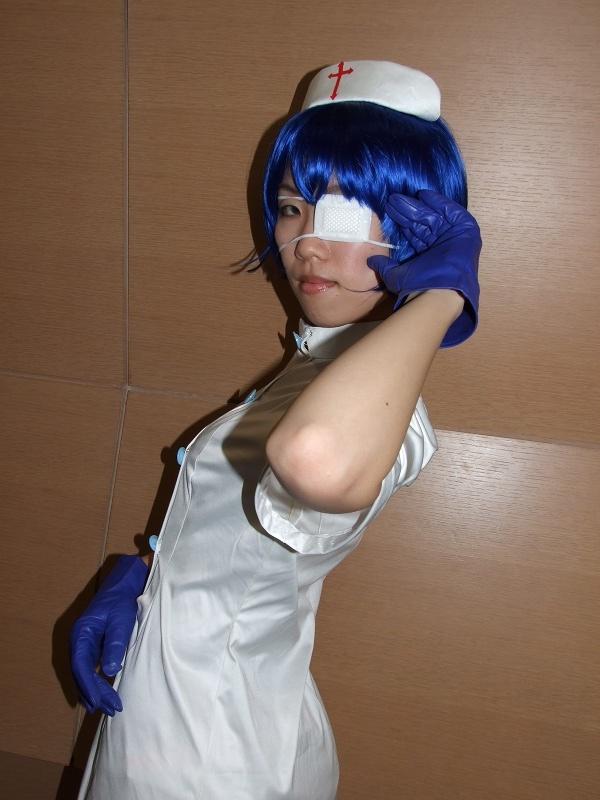 cosplay eyepatch gloves ikkitousen nurse nurse_uniform ryomou_shimei sakura_marimo thigh-highs
