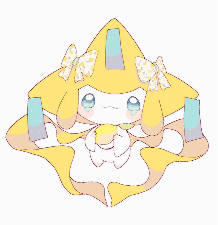 blush_stickers bow closed_mouth food fruit full_body gen_3_pokemon green_eyes holding jirachi lemon looking_at_viewer mythical_pokemon no_humans pokemon pokemon_(creature) print_bow remon_(920moomin) simple_background smile solo symbol_commentary white_background