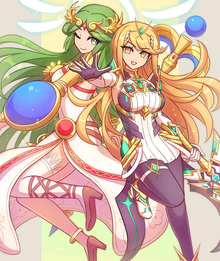 2girls armlet bangs bare_shoulders belt black_legwear blonde_hair breasts chest_jewel dress earrings elbow_gloves enni forehead_jewel gem gloves goddess green_eyes green_hair headpiece high_heels jewelry kid_icarus kid_icarus_uprising large_breasts laurel_crown legs long_hair long_legs looking_at_viewer multiple_belts multiple_girls mythra_(xenoblade) necklace open_mouth palutena pantyhose pendant sandals shield short_dress side_slit single_thighhigh smile staff strapless strapless_dress super_smash_bros. swept_bangs sword thigh-highs thigh_strap thighs tiara vambraces very_long_hair weapon white_dress white_footwear white_gloves white_legwear wii_fit_trainer xenoblade_chronicles_(series) xenoblade_chronicles_2 yellow_eyes