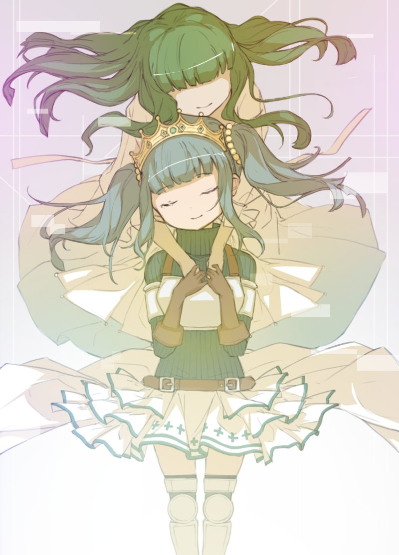 2girls ai-chan_(magia_record) armored_boots bangs beige_background belt blunt_bangs boots brown_belt brown_gloves closed_eyes closed_mouth commentary_request dot_nose dress eyebrows_visible_through_hair floating_hair futaba_sana glitch gloves gradient gradient_background green_hair grey_background hair_bobbles hair_ornament hands_on_own_chest happy head_tilt holding_hands hug hug_from_behind layered_skirt long_hair magia_record:_mahou_shoujo_madoka_magica_gaiden mahou_shoujo_madoka_magica multiple_girls no_eyes no_nose ribbed_sweater shiny shiny_hair sidelocks simple_background skirt skirt_lift smile sweater thigh-highs thigh_boots tiara turtleneck turtleneck_sweater twintails unko_tomaranai vignetting waist_cape white_dress white_skirt zettai_ryouiki
