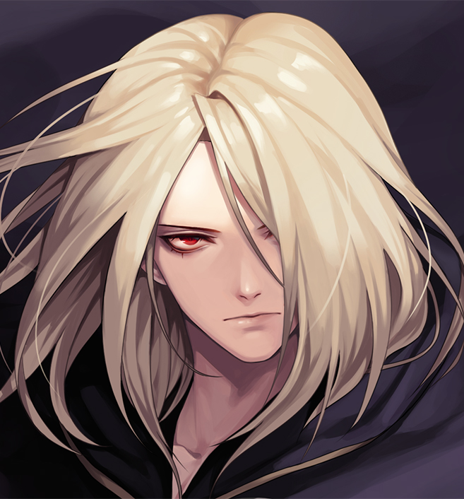1boy bangs bishounen black_cape blonde_hair cape closed_mouth collarbone commentary_request evilgun floating_cape floating_hair hair_between_eyes hair_over_one_eye igniz_(kof) looking_at_viewer male_focus portrait red_eyes short_hair solo the_king_of_fighters wind