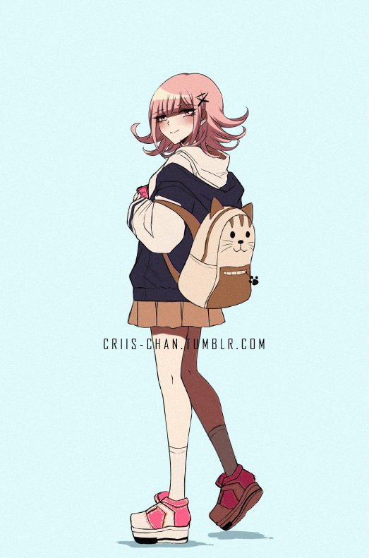 1girl alternate_costume animal_bag backpack bag bangs blunt_bangs blush brown_skirt casual cat_bag commentary criis-chan danganronpa_(series) danganronpa_2:_goodbye_despair duplicate eyebrows_visible_through_hair flipped_hair from_side full_body grey_background hair_ornament hairclip handheld_game_console holding holding_handheld_game_console hood hood_down hoodie jacket kneehighs long_sleeves looking_at_viewer looking_to_the_side nanami_chiaki open_clothes open_jacket pink_footwear pink_hair pleated_skirt shoes simple_background skirt smile sneakers solo standing tumblr_username white_hoodie white_legwear x_hair_ornament