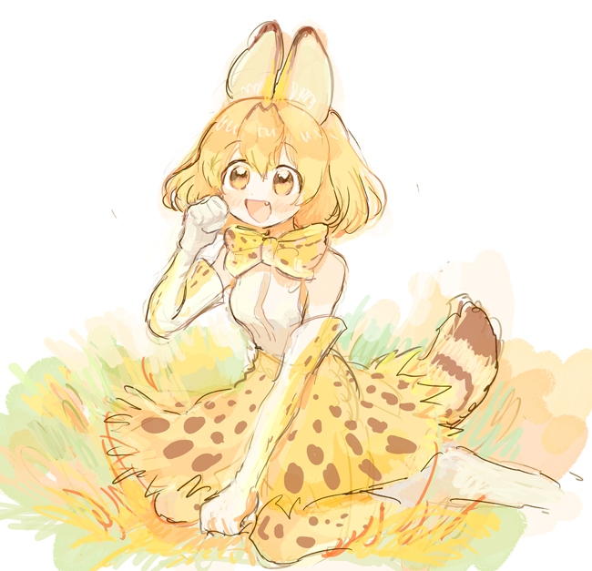 1girl :d animal_ears animal_print bangs bare_shoulders between_legs bow bowtie clenched_hands dot_nose elbow_gloves eyebrows_visible_through_hair fang from_side full_body gloves hair_between_eyes hand_between_legs hand_up high-waist_skirt kemono_friends looking_at_viewer nanzuyo_(gnsi) open_mouth orange_eyes orange_hair outdoors paw_pose print_bow print_gloves print_legwear print_neckwear print_skirt serval_(kemono_friends) serval_ears serval_print serval_tail shirt short_hair sitting skirt sleeveless sleeveless_shirt smile solo tail tareme wariza white_background white_shirt