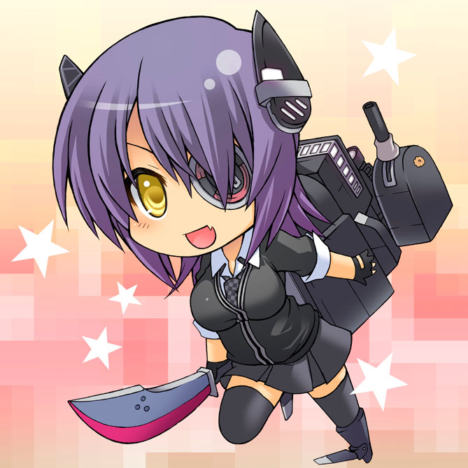 1girl black_gloves breasts cardigan checkered checkered_neckwear chibi eyepatch fang full_body gloves headgear kantai_collection large_breasts machinery miniskirt necktie nikubanare open_mouth partially_fingerless_gloves purple_hair school_uniform skin_fang skirt smile solo star_(symbol) sword tenryuu_(kancolle) thigh-highs turret weapon yellow_eyes