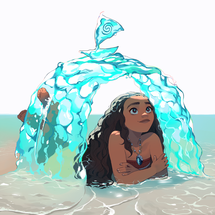 1girl bare_shoulders brown_eyes brown_hair crossed_arms dark_skin dark_skinned_female element_bending fingernails flat_chest full_body horizon hydrokinesis jewelry lips long_hair lying moana_(movie) moana_waialiki necklace ocean on_stomach pano_(mohayayamai) partially_submerged pendant soles solo strapless the_pose thick_eyebrows toes tubetop water wavy_hair white_background
