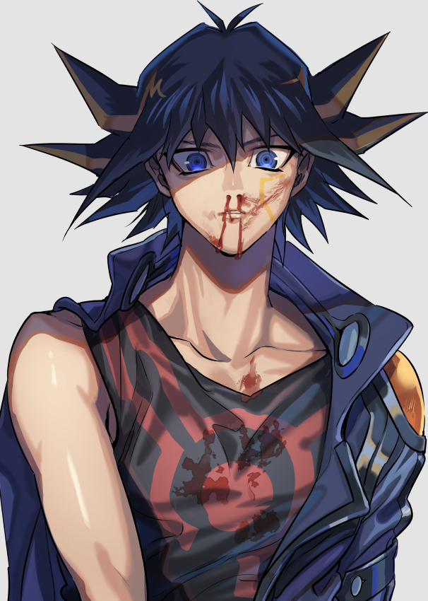 1boy bangs black_hair black_shirt blonde_hair blood blood_on_face blood_stain bloody_clothes blue_eyes blue_jacket collarbone commentary_request fudou_yuusei jacket looking_at_viewer male_focus multicolored_hair nosebleed off_shoulder parted_lips print_shirt shiny shiny_skin shirt short_hair simple_background sleeveless sleeveless_shirt solo spiky_hair streaked_hair torinomaruyaki two-tone_hair upper_body white_background yu-gi-oh! yu-gi-oh!_5d's
