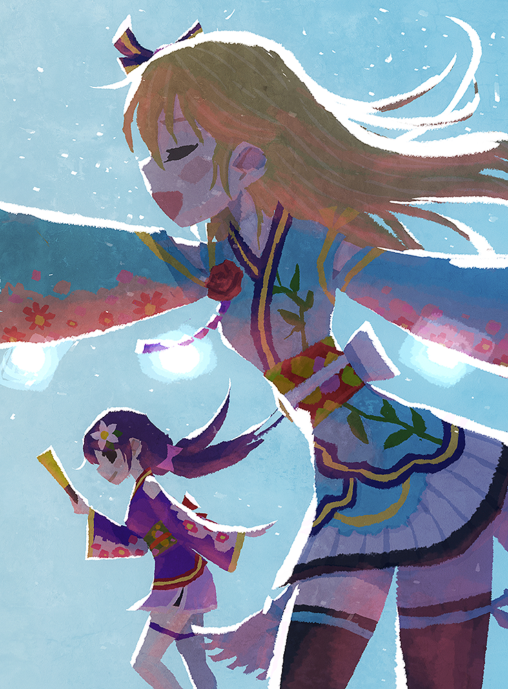 2girls angelic_angel arm_up ayase_eli backlighting bangs black_legwear blonde_hair blue_background blue_kimono blush_stickers bow closed_eyes closed_fan closed_mouth contrapposto cowboy_shot facing_away fan feet_out_of_frame floating_hair floral_print flower folding_fan from_side hair_bow hair_flower hair_ornament hand_up holding holding_fan hyogonosuke japanese_clothes kimono kimono_skirt light_particles long_hair long_sleeves looking_at_another love_live! love_live!_school_idol_project low_twintails multiple_girls no_lineart obi open_mouth outstretched_arms pleated_skirt profile purple_hair purple_kimono red_flower red_rose rose sash short_kimono sideways_glance skirt smile standing thigh-highs toujou_nozomi twintails white_legwear wide_sleeves wind zettai_ryouiki