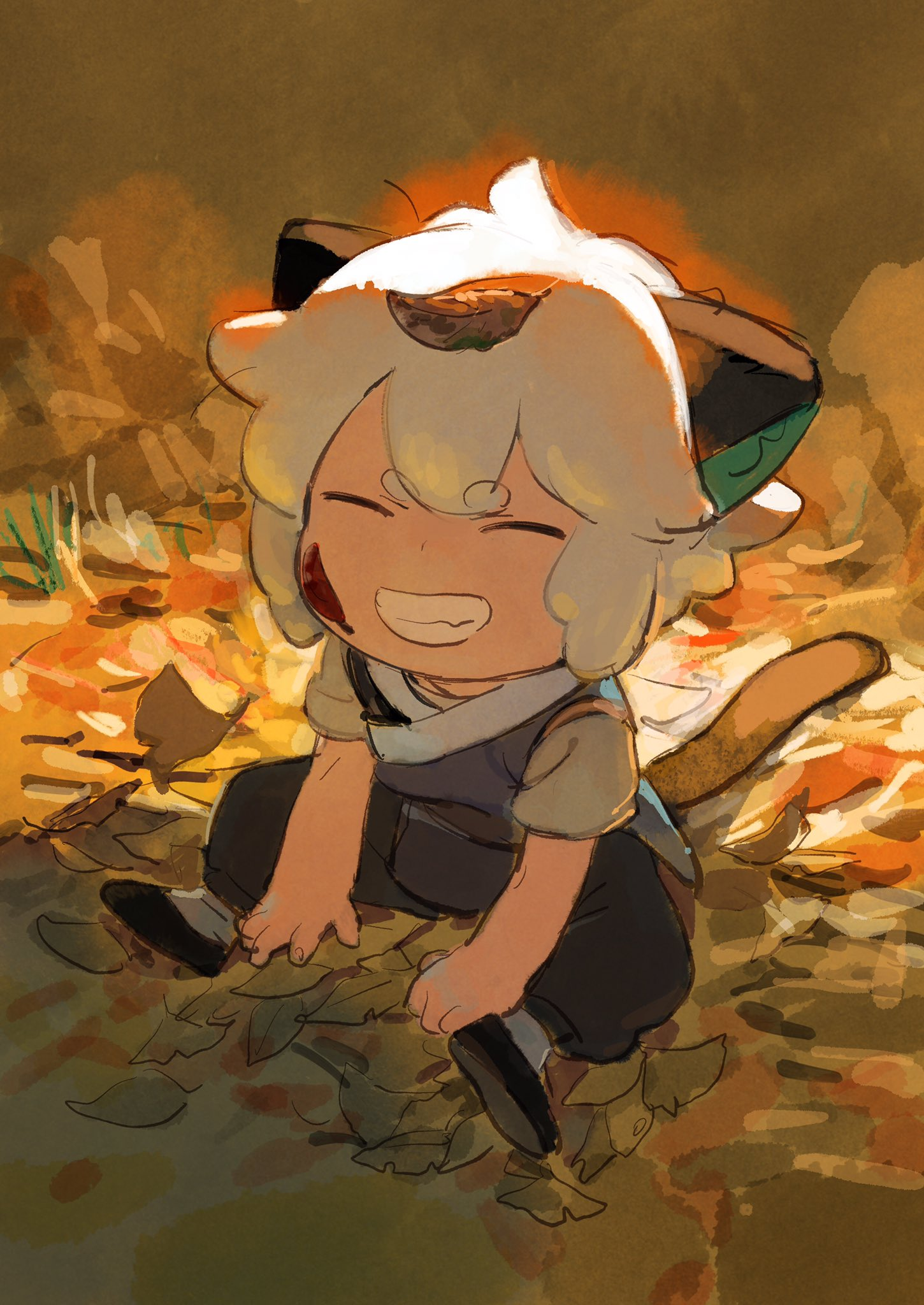 1boy animal_ears black_footwear black_pants cat_boy cat_ears cat_tail closed_eyes full_body highres leaf leaf_on_head luoxiaohei pants parted_lips shoes short_hair sitting smile solo tail the_legend_of_luo_xiaohei ukumo_uichi white_hair