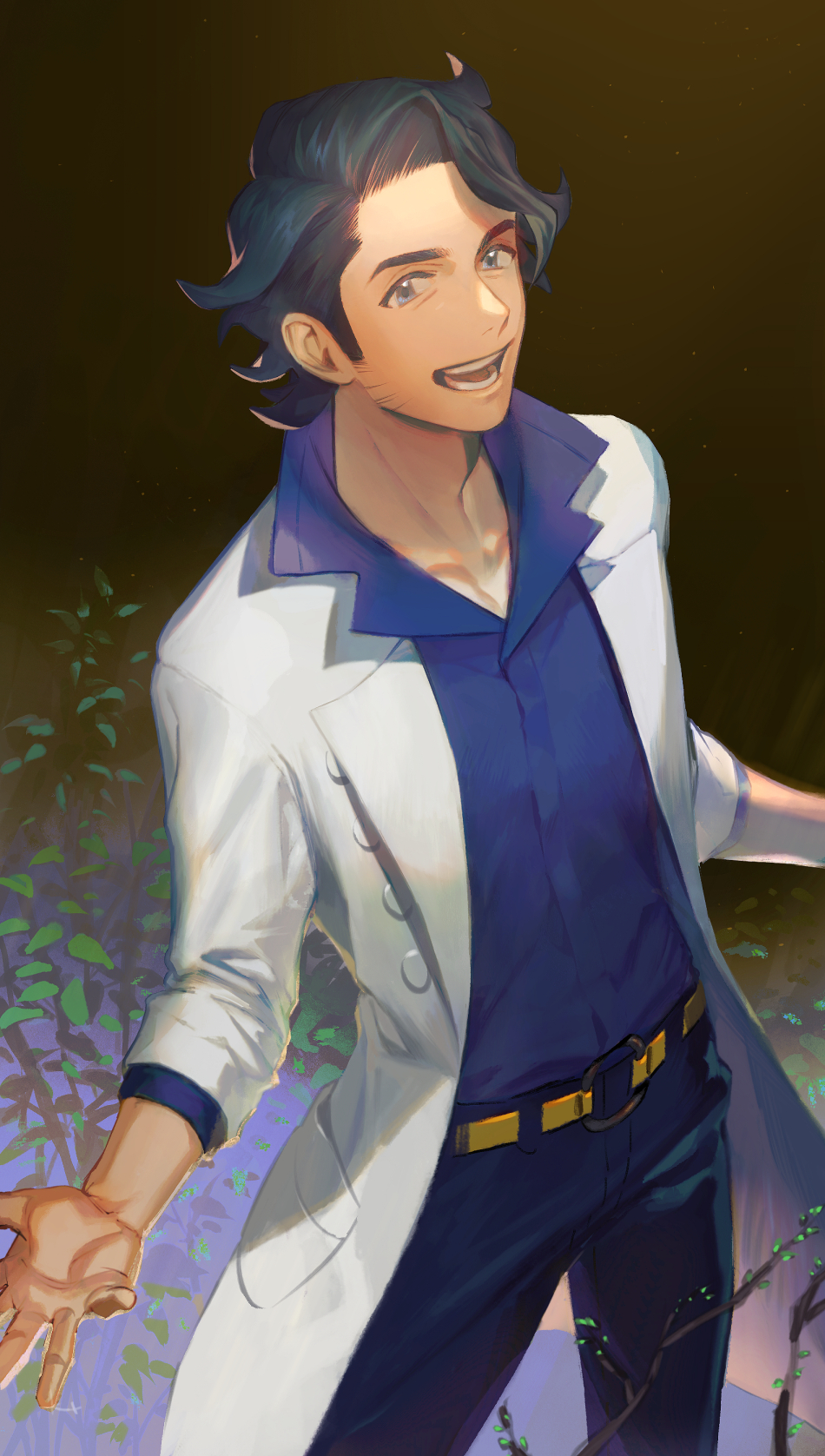 1boy augustine_sycamore belt black_hair black_pants blue_shirt branch coat collared_shirt highres kmtk leaf male_focus medium_hair open_clothes open_coat open_mouth pants pokemon pokemon_(game) pokemon_xy shirt solo symbol_commentary teeth white_coat