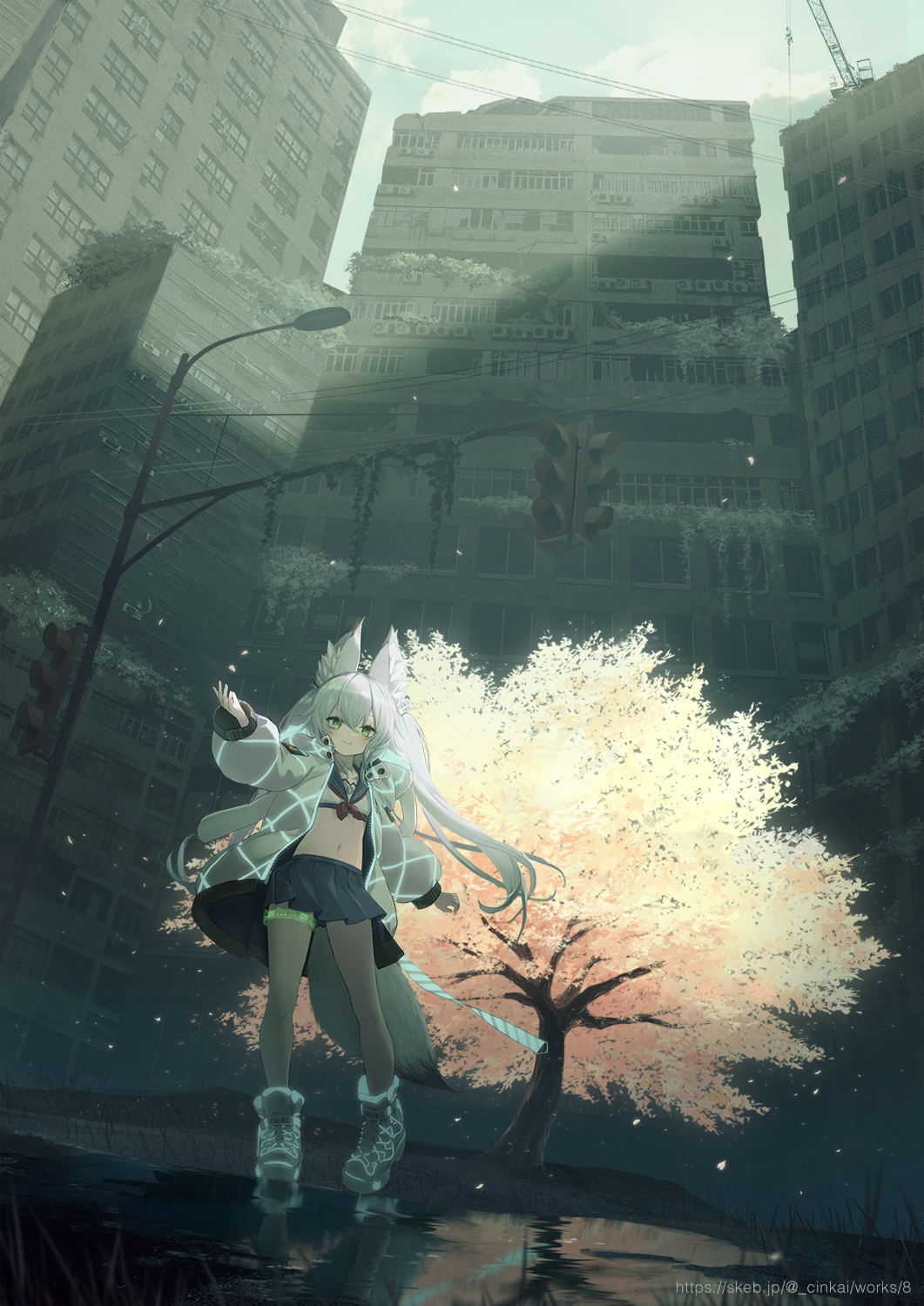 1girl animal_ears ankle_boots boots cherry_blossoms cinkai city clouds commission crane_(machine) crop_top dark fox_ears fox_tail from_below glowing green_eyes highres jacket lamppost long_hair midriff navel original outdoors overgrown pleated_skirt power_lines ruins scenery school_uniform serafuku silver_hair skeb_commission skirt sky solo sunlight tail thigh_strap traffic_light tree twintails water watermark