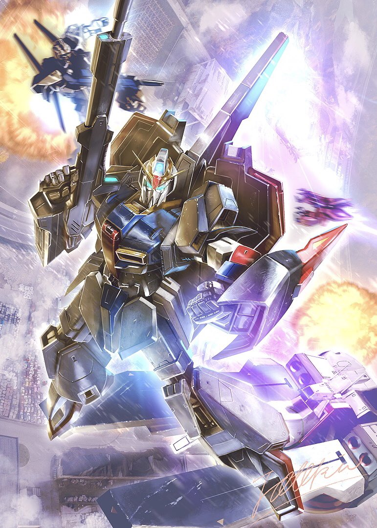 argama beam_rifle blue_eyes clenched_hand energy_gun explosion firing flying gaza-c gun gundam holding holding_gun holding_weapon hyaku_shiki looking_back looking_to_the_side mecha no_humans science_fiction solo_focus space_craft totthii0081 v-fin weapon zeta_gundam zeta_gundam_(mobile_suit)