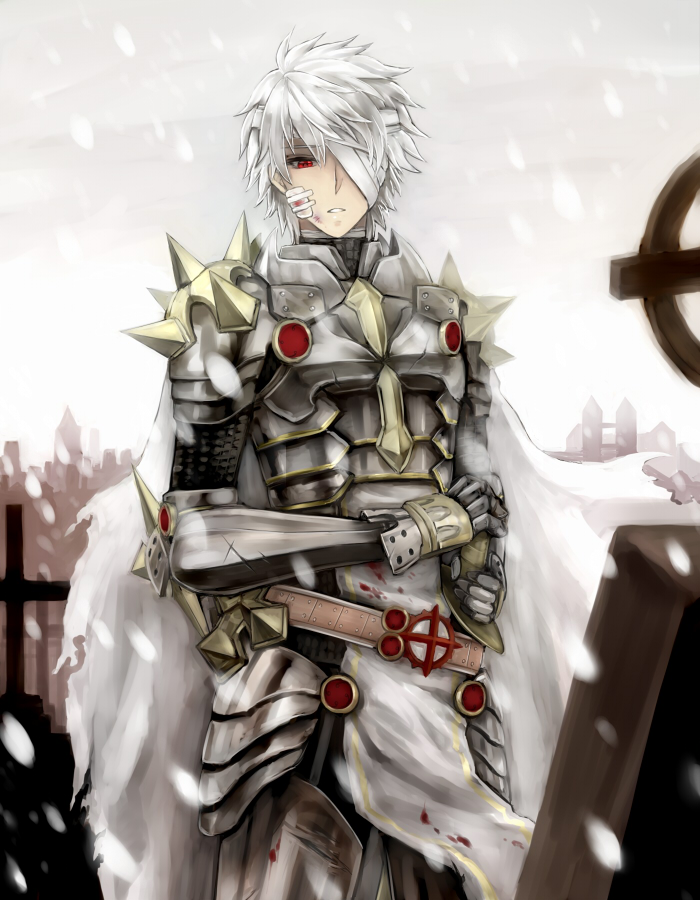 1boy armor bandage_on_face bandage_over_one_eye bandages bangs blood breastplate commentary_request cowboy_shot eyebrows_visible_through_hair garter_straps graveyard leg_armor looking_down male_focus parted_lips pauldrons ragnarok_online red_eyes retgra rune_knight_(ragnarok_online) short_hair shoulder_armor snowing solo spiked_pauldrons standing tabard tombstone white_hair white_sky