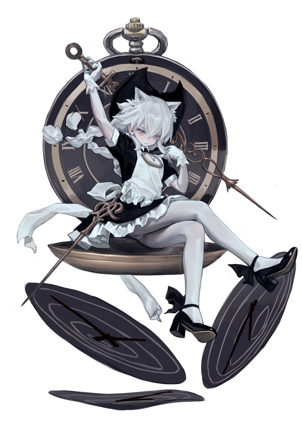 1girl animal_ears apron black_footwear cat_ears clock clock_hands closed_mouth commentary fkey gloves hat highres maid_apron original pocket_watch solo watch white_background white_gloves white_hair white_legwear witch_hat