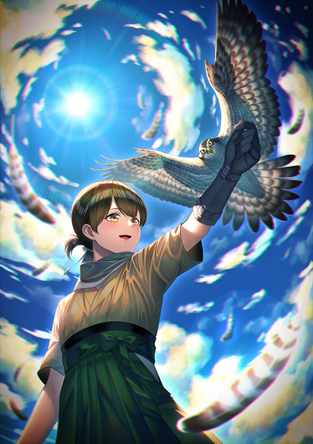 1girl bird blurry bokeh brown_eyes brown_hair depth_of_field falcon falconry feathers fisheye folded_ponytail from_below gloves hakama japanese_clothes kantai_collection kasuga_maru_(kancolle) lens_flare looking_to_the_side open_mouth outstretched_arm short_hair solo sun sunlight taiyou_(kancolle) unowen