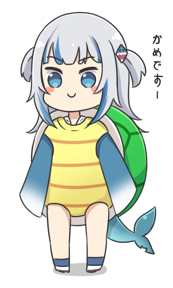 1girl bangs blue_eyes blue_hair blue_legwear blush_stickers chibi closed_mouth commentary_request eyebrows_visible_through_hair fish_tail full_body gawr_gura grey_hair hair_ornament hololive hololive_english long_hair long_sleeves multicolored_hair rutorifuki shark_tail shoes sleeves_past_fingers sleeves_past_wrists smile socks solo standing streaked_hair tail translated turtle_shell two_side_up virtual_youtuber white_background white_footwear