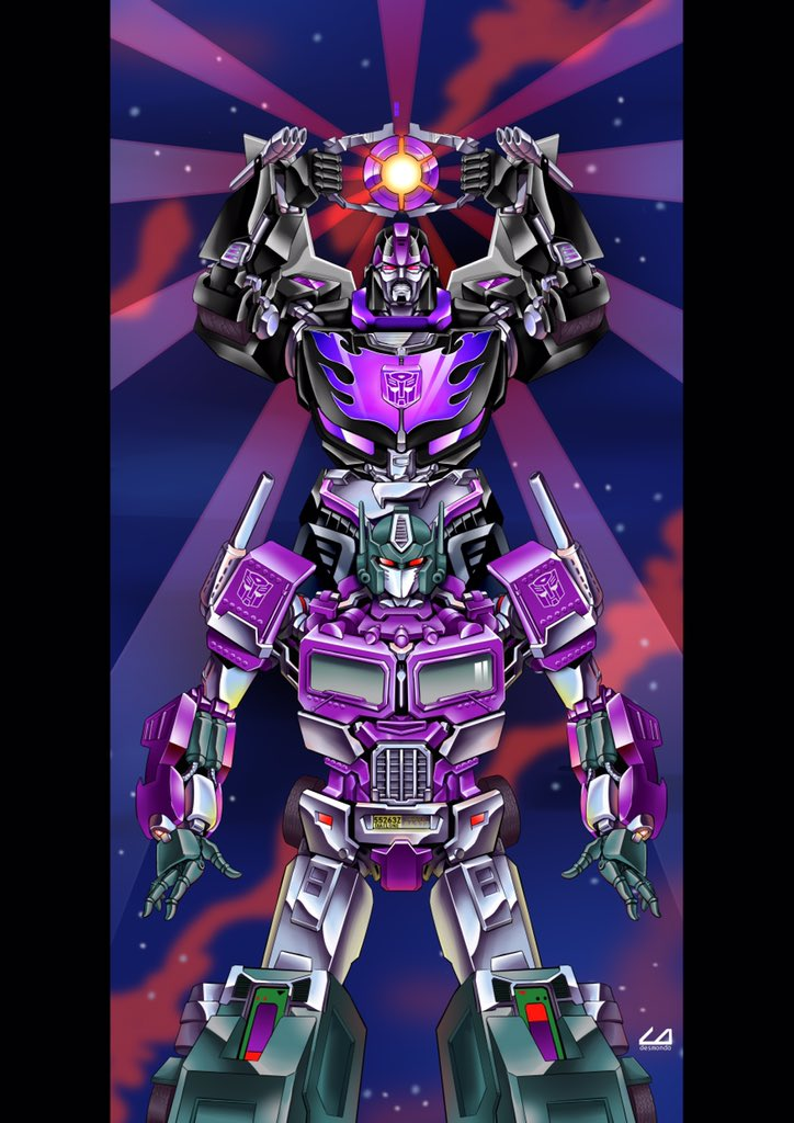1980s_(style) 2boys autobot ct990413 holding hot_rod insignia matrix_of_leadership mecha multiple_boys no_humans open_hands optimus_prime planet red_eyes retro_artstyle science_fiction transformers transformers_shattered_glass