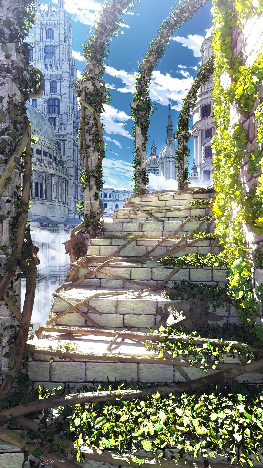 building clouds commentary_request day highres no_humans original outdoors overgrown plant realistic roots scenery signature sky stairs waisshu_(sougyokyuu)