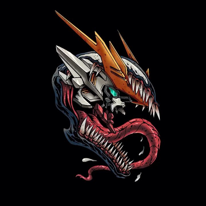 alien aqua_eyes english_commentary fusion gundam gundam_barbatos gundam_barbatos_lupus_rex gundam_tekketsu_no_orphans head_only looking_ahead making-of_available marvel mecha no_humans open_mouth science_fiction sharp_teeth solo spider-man_(series) stunning_warrior teeth tongue tongue_out v-fin venom_(marvel)