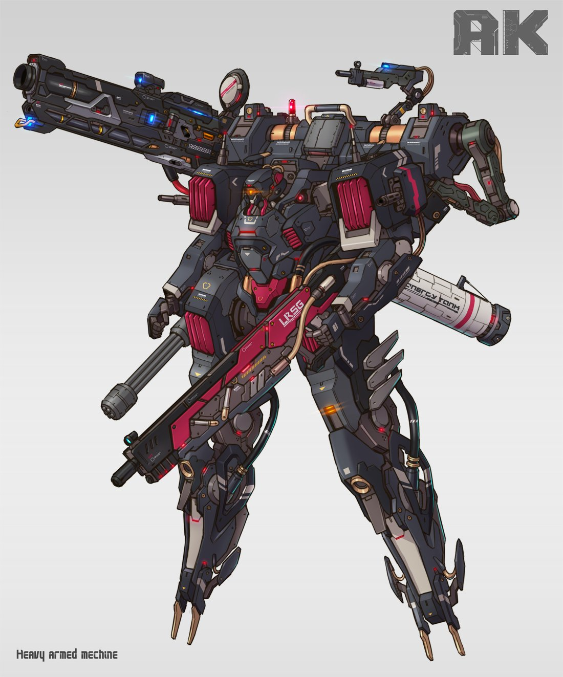 chain_gun clenched_hand floating glowing glowing_eye grey_background gun highres holding holding_gun holding_weapon looking_ahead mecha no_humans one-eyed orange_eyes original science_fiction shoulder_cannon solo tamasi weapon