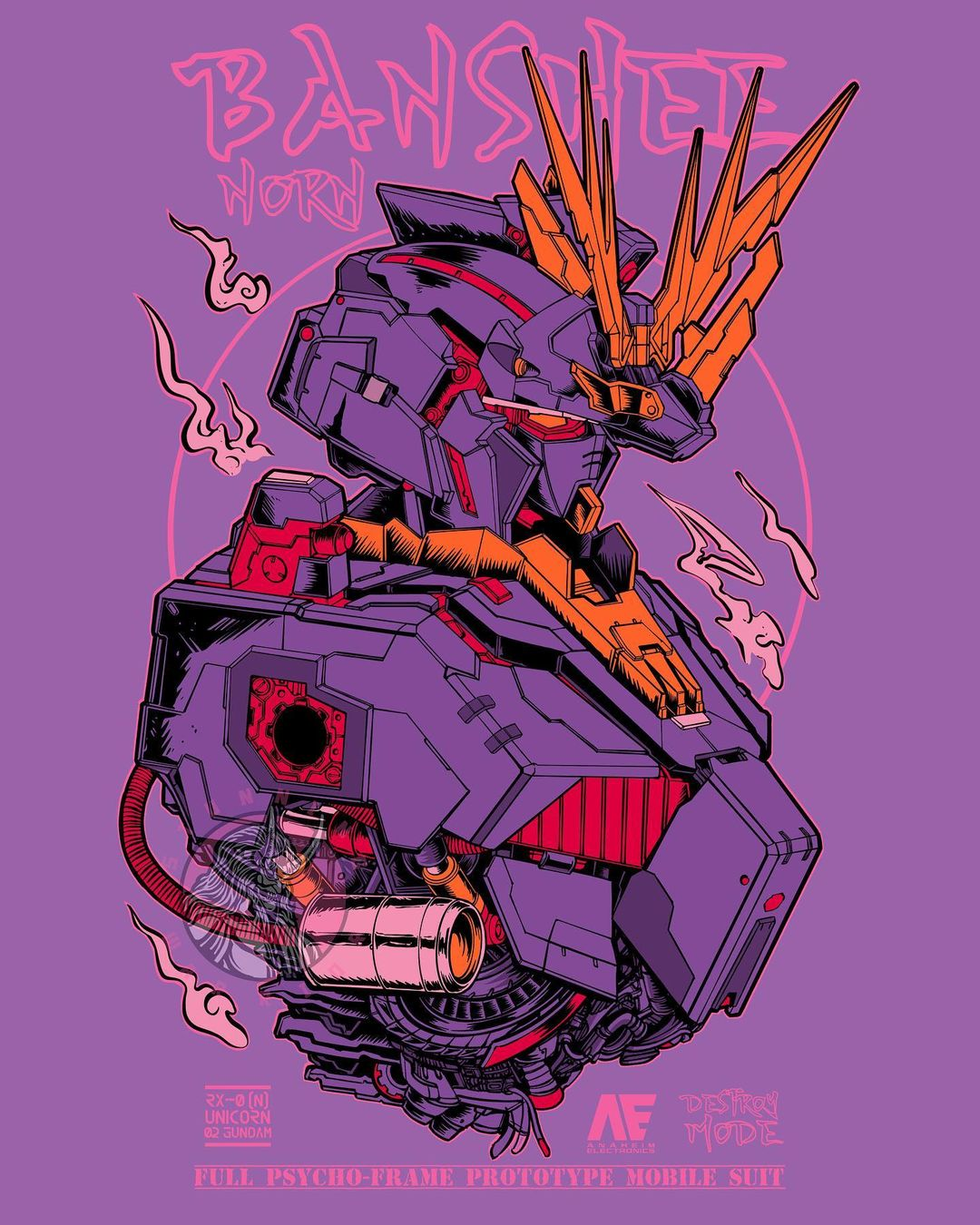 character_name english_commentary from_side gundam gundam_unicorn highres looking_down machinery mecha mobile_suit no_arms no_humans orange_eyes purple_background science_fiction solo stunning_warrior unicorn_gundam_banshee upper_body v-fin