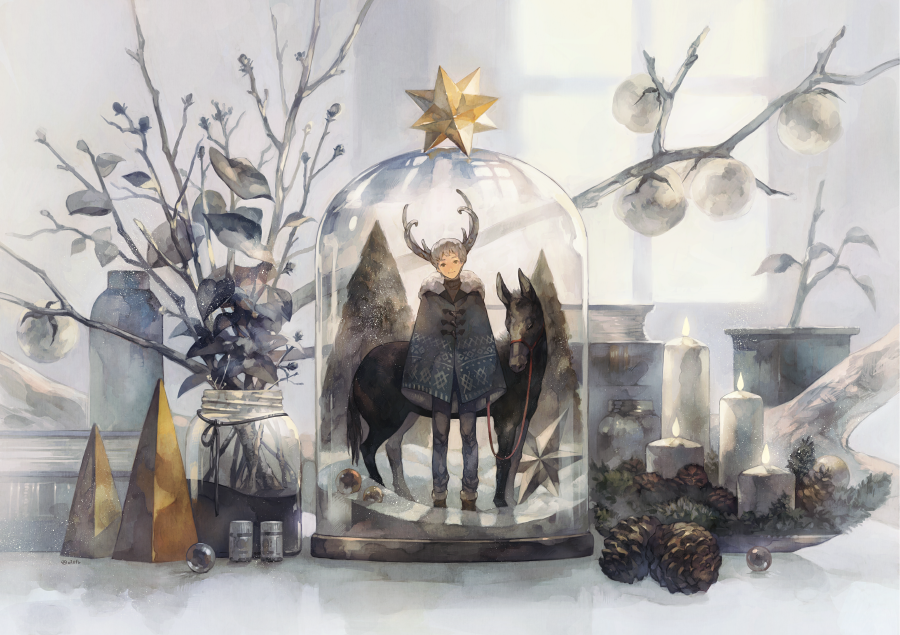 1boy blue_pants bottle candle coat donkey fur_coat horns in_bottle in_container marble original pants pinecone plant pot smile snow white_hair window yoshioka_(haco)