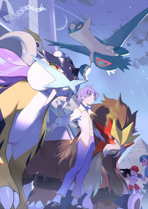 1boy 2girls anabel_(pokemon) artist_name bangs black_footwear buttons claws closed_mouth clouds crescent_moon e_volution entei from_below frontier_brain gen_1_pokemon gen_2_pokemon gen_3_pokemon green_hair holding holding_microphone interviewers_(pokemon) latios legendary_pokemon long_sleeves microphone moon multiple_girls outdoors pants pokemon pokemon_(game) pokemon_emerald pokemon_rse purple_hair purple_pants pyramid raikou shoes short_hair sky snorlax