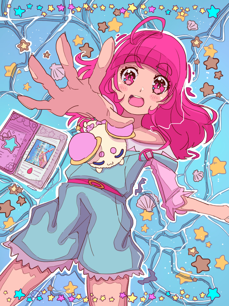 1girl ahoge bangs belt blouse blue_overalls blunt_bangs blush blush_stickers commentary cowboy_shot eyebrows_visible_through_hair from_above fuwa_(precure) hair_down happy_birthday hoshina_hikaru in_water long_hair looking_at_viewer lukasandatta lying off_shoulder open_mouth partially_submerged pink_belt pink_blouse pink_eyes pink_hair precure reaching round_teeth scallop seashell shell short_eyebrows sleeping sleeping_on_person star_(symbol) star_twinkle_precure strap_slip teeth thick_eyebrows twinkle_book upper_teeth water wet