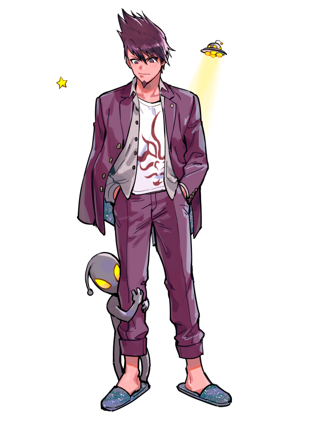 1boy 1other alien bang collarbone collared_shirt commentary_request danganronpa_(series) danganronpa_v3:_killing_harmony facial_hair finger_gun full_body goatee hands_in_pockets jacket leg_hug looking_at_viewer looking_down male_focus momota_kaito open_clothes open_jacket open_shirt pants pink_jacket pink_pants print_shirt purple_footwear purple_jacket purple_pants shirt shoes short_hair simple_background smile spiky_hair standing star_(symbol) star_print ufo white_shirt zoo_(oukakumaku)