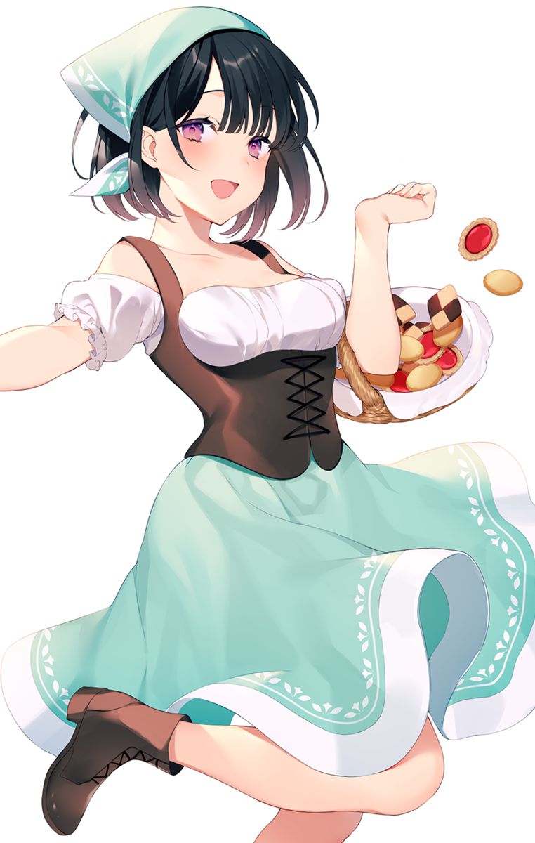 1girl :d achiki bangs bare_shoulders basket black_hair blue_skirt boots breasts brown_footwear checkerboard_cookie collarbone commentary_request cookie food hand_up head_scarf highres looking_at_viewer off-shoulder_shirt off_shoulder open_mouth puffy_short_sleeves puffy_sleeves satou_koharu shio_taiou_no_satou-san_ga_ore_ni_dake_amai shirt short_hair short_sleeves simple_background skirt small_breasts smile solo standing standing_on_one_leg thumbprint_cookie underbust violet_eyes white_background white_shirt