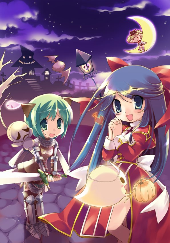 3girls :d animal_ears animal_on_head armor armored_boots bangs bat blue_eyes blue_hair blush boots bow bowtie breastplate brown_cape brown_legwear cape cat cat_ears cat_on_head chainmail closed_mouth commentary_request crescent_moon cross dress eyebrows_visible_through_hair feet_out_of_frame full_body gauntlets ghost gibbet graveyard green_eyes green_hair heart high_priest_(ragnarok_online) holding holding_sword holding_weapon ikusabe_lu juliet_sleeves knight_(ragnarok_online) leotard long_hair long_sleeves looking_at_viewer lude_(ragnarok_online) moon multiple_girls night on_head open_mouth own_hands_together puffy_sleeves pumpkin ragnarok_online red_bow red_dress red_neckwear sky smile socks standing star_(sky) starry_sky sweatdrop sword tombstone tree triangular_headpiece two-tone_dress weapon whisper_(ragnarok_online) white_bow white_dress