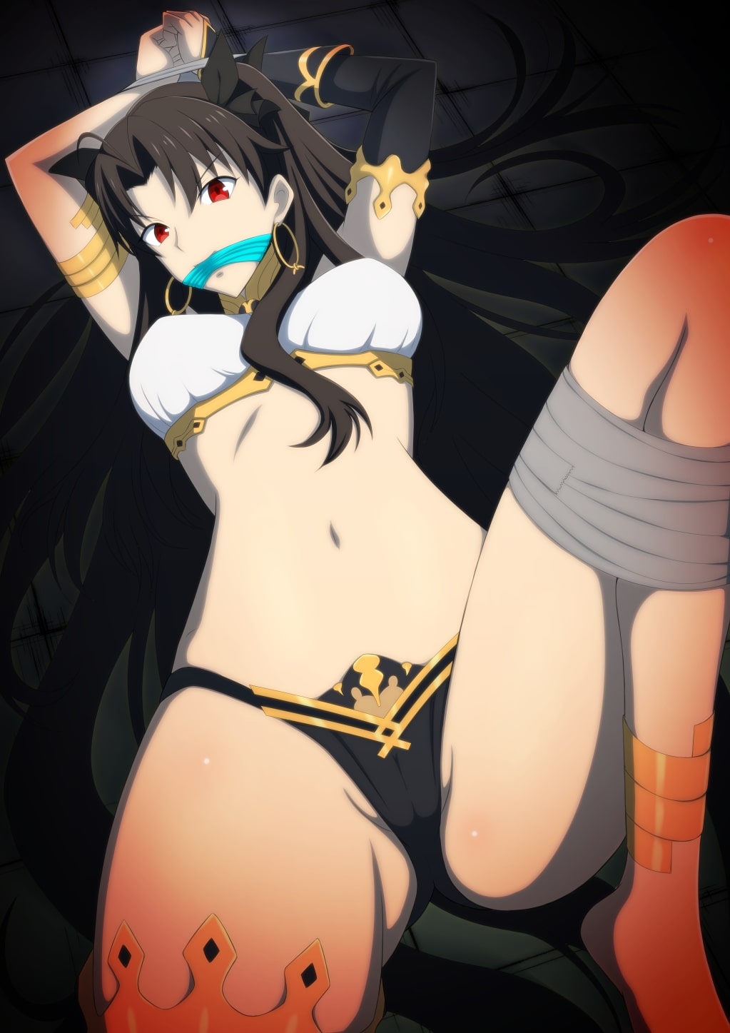 1girl ahoge angry anklet arms_up asymmetrical_legwear asymmetrical_sleeves bangs black_hair black_panties blush bound bound_wrists breasts commentary_request crown detached_sleeves earrings elbow_gloves fate/grand_order fate_(series) gag gagged gloves highres hoop_earrings ishtar_(fate) ishtar_(fate)_(all) jewelry long_hair looking_at_viewer lying medium_breasts navel neck_ring on_back panties parted_bangs red_eyes restrained single_detached_sleeve single_elbow_glove single_sleeve single_thighhigh solo tape thigh-highs tiara tumamiya01 two_side_up underwear