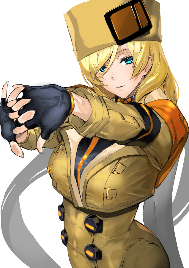 1girl ashiomi_masato blonde_hair blue_eyes guilty_gear guilty_gear_strive hat hay looking_at_viewer millia_rage portrait smile solo_focus stretch yellow_headwear