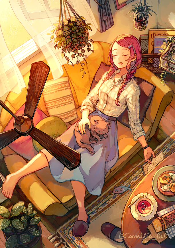 1girl akagi_shun barefoot blue_skirt braid cat ceiling_fan closed_eyes couch curtains hanging_plant nap open_window original pillow redhead shirt skirt sleeping slippers sunlight tea twin_braids white_shirt window