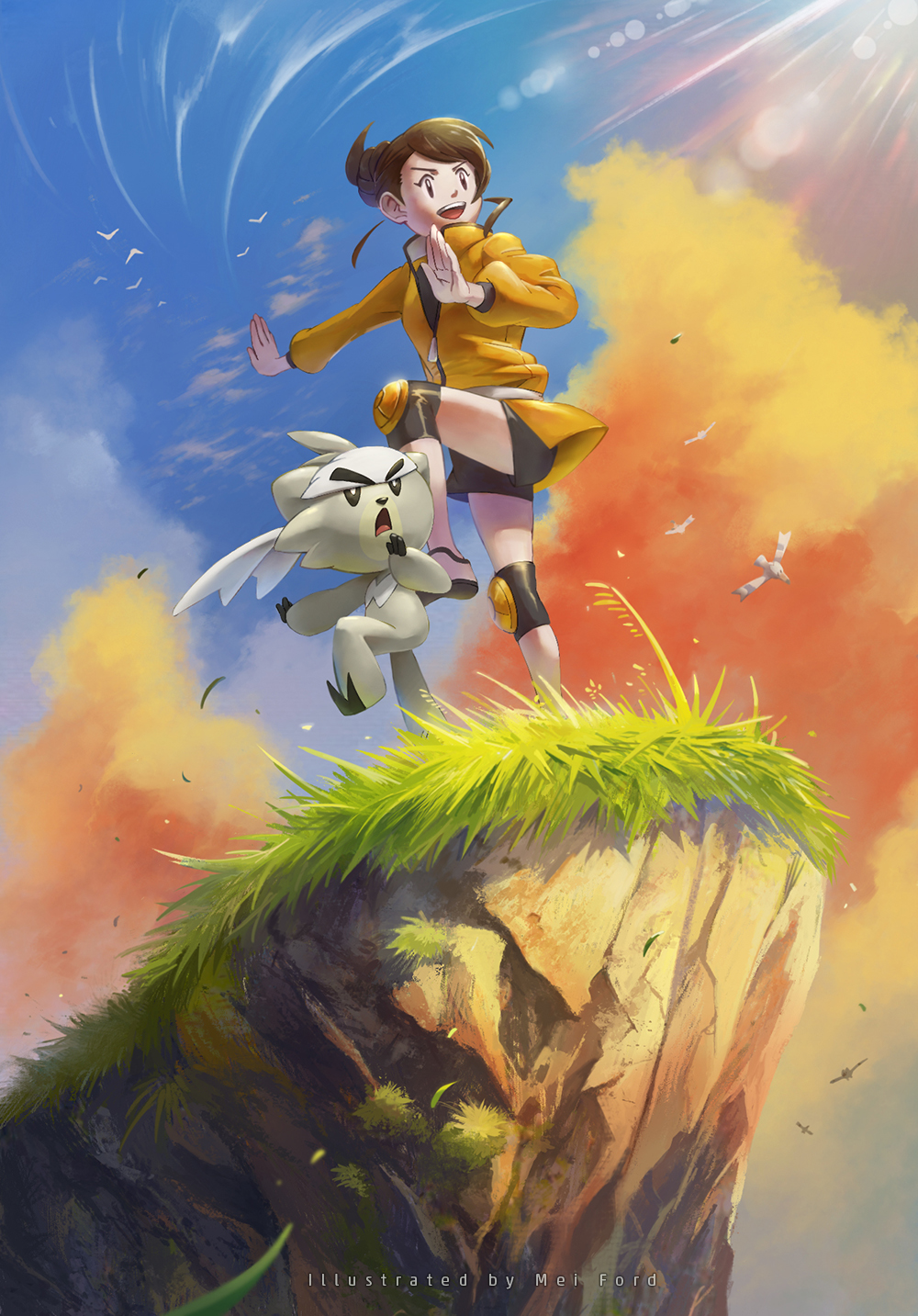 1girl artist_name bird black_shirt brown_hair cliff clouds commentary_request day from_below gen_3_pokemon gen_8_pokemon gloria_(pokemon) golden_boden grass highres jacket knee_pads kubfu legendary_pokemon looking_to_the_side master_dojo_uniform open_mouth outdoors pokemon pokemon_(creature) pokemon_(game) pokemon_swsh sash shirt shoes shorts sky smile standing standing_on_one_leg teeth tongue watermark wingull yellow_jacket zipper_pull_tab