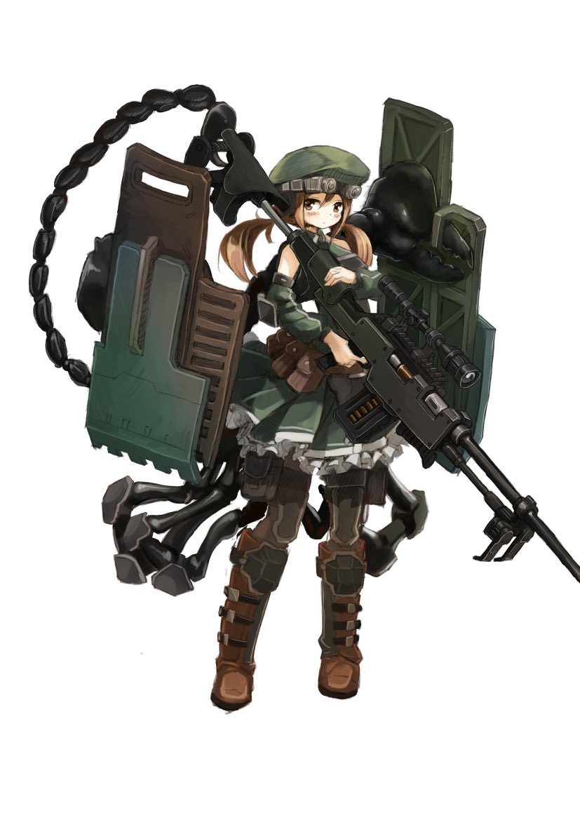 159cm 1girl anti-tank_rifle arthropod_legs beret blush boots brown_eyes brown_footwear brown_hair closed_mouth detached_sleeves finger_on_trigger full_body goggles goggles_on_headwear green_headwear green_skirt grey_legwear gun hat holding holding_gun holding_shield holding_weapon huge_weapon long_sleeves looking_at_viewer low_twintails monster_girl original pantyhose pincers pleated_skirt rifle scorpion_girl scorpion_tail shield simple_background skirt sniper_rifle solo standing tail twintails weapon white_background