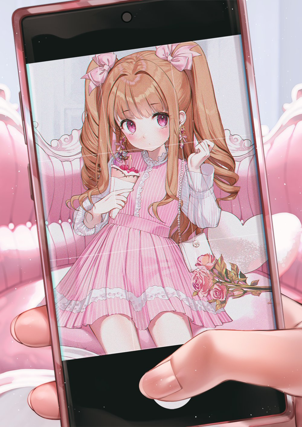 1girl 1other bangs blush bow bow_earrings brown_hair cellphone dress drill_hair earrings eyebrows_visible_through_hair fingernails fingers flower frills hair_bow hands_up heart heart_pillow highres holding indoors jewelry kinty long_hair long_sleeves looking_at_viewer original parfait phone phone_screen pillow pink_bow pink_dress pink_eyes pink_flower pink_rose rose sitting smartphone solo_focus symbol_commentary taking_picture twintails
