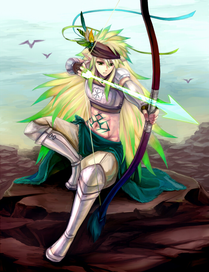 1boy archery armor arrow_(projectile) bangs bird blonde_hair bow_(weapon) breastplate brown_gloves cape closed_mouth commentary_request drawing_bow emblem expressionless feathers fingerless_gloves full_body gauntlets gloves gradient_hair green_cape green_hair hair_feathers holding holding_bow_(weapon) holding_weapon leg_armor long_hair looking_afar male_focus midriff multicolored_hair navel pauldrons pixiv_fantasia pixiv_fantasia_5 pointy_ears retgra rock shoulder_armor solo standing stomach_tattoo tattoo very_long_hair waist_cape weapon