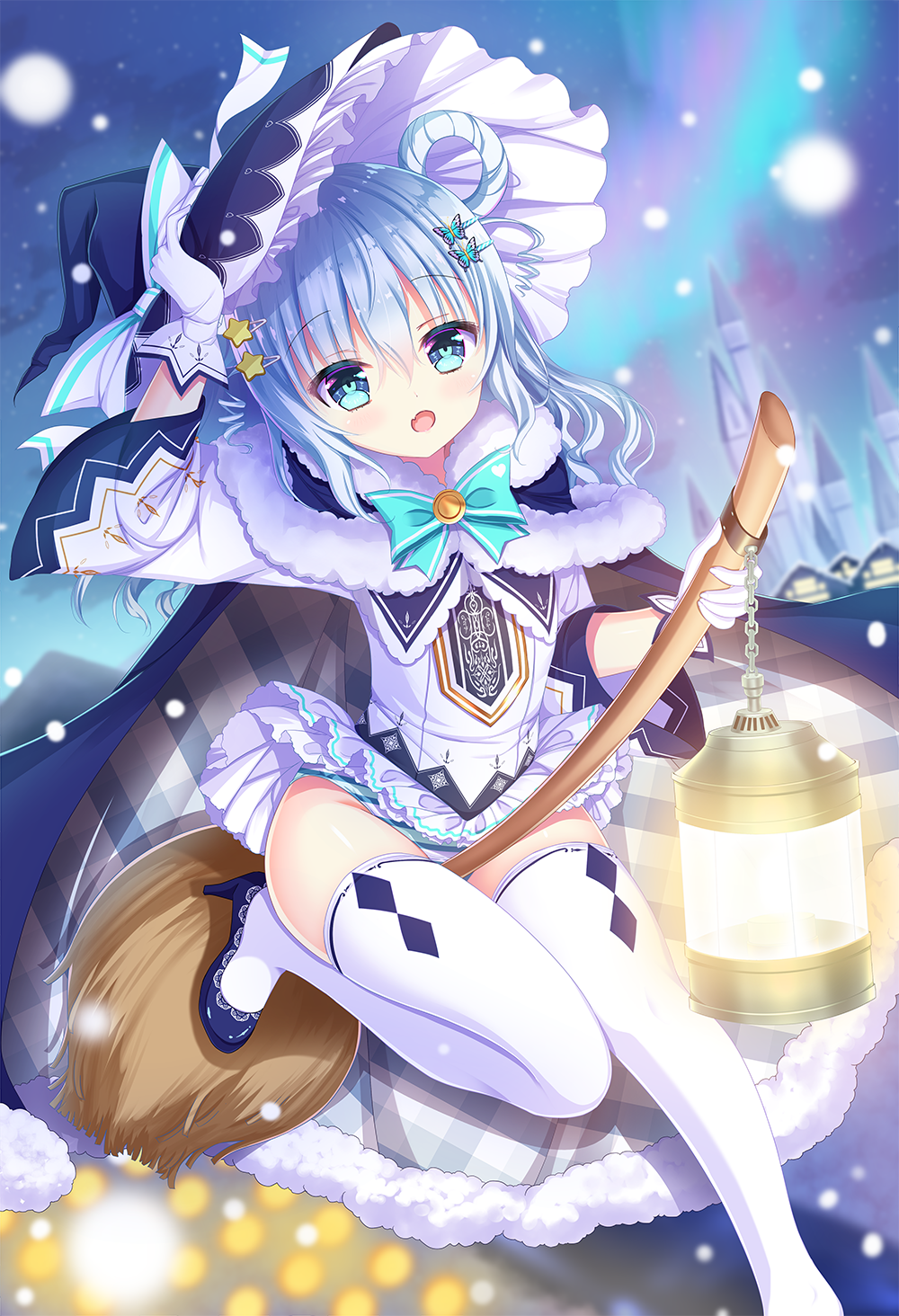 1girl arm_up black_capelet black_headwear blue_eyes blue_footwear blue_hair broom broom_riding butterfly_hair_ornament capelet commentary_request dress fang fur-trimmed_capelet fur_trim gloves hair_ornament hair_rings hairclip hand_on_headwear hat high_heels highres lantern long_hair long_sleeves open_mouth original panties shiwasu_horio shoes solo star_(symbol) star_hair_ornament striped striped_panties thigh-highs underwear white_dress white_gloves white_legwear wide_sleeves witch_hat