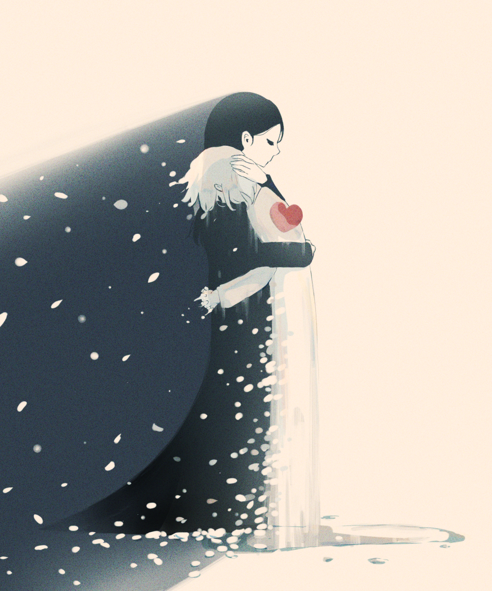 2girls avogado6 black_dress black_hair closed_eyes commentary_request dress from_side grey_background heart highres hug long_sleeves multiple_girls original simple_background tagme white_dress