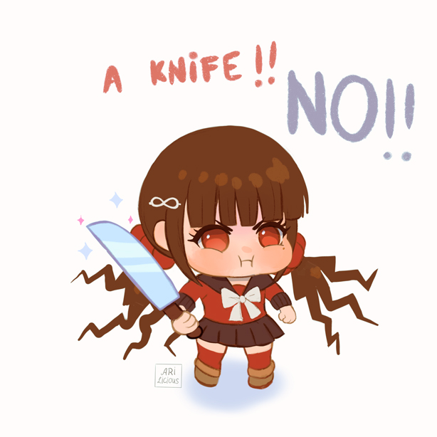 1girl bangs black_sailor_collar black_skirt blunt_bangs blush brown_hair chibi danganronpa_(series) danganronpa_v3:_killing_harmony english_text frown full_body hair_ornament hairclip harukawa_maki holding holding_knife holding_weapon knife long_sleeves looking_at_viewer low_twintails meme miniskirt missarilicious mole mole_under_eye pleated_skirt pout red_eyes red_legwear red_scrunchie red_shirt sailor_collar school_uniform scrunchie shirt skirt solo symbol_commentary thigh-highs twintails weapon zettai_ryouiki