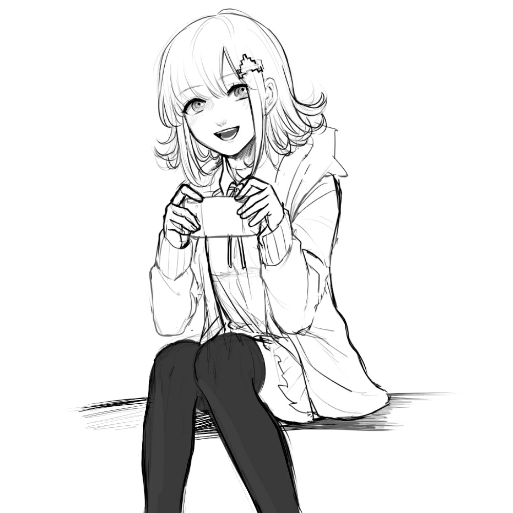 1girl :d bangs collared_shirt commentary_request danganronpa_(series) danganronpa_2:_goodbye_despair eyebrows_visible_through_hair feet_out_of_frame greyscale hair_ornament hairclip handheld_game_console holding holding_handheld_game_console hood hood_down jacket looking_at_viewer maroro_(981tomo) medium_hair monochrome nanami_chiaki open_clothes open_jacket open_mouth pleated_skirt shirt simple_background sitting sketch skirt smile solo spaceship_hair_ornament thigh-highs white_background
