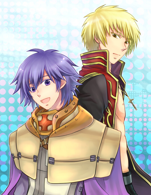 2boys :d armor bangs bare_pecs black_coat blonde_hair blue_background brown_eyes cape closed_mouth coat commentary_request cross cross_necklace crusader_(ragnarok_online) jewelry long_sleeves looking_at_viewer looking_to_the_side male_focus multiple_boys necklace open_clothes open_coat open_mouth pauldrons priest_(ragnarok_online) purple_cape purple_hair ragnarok_online red_coat retgra short_hair shoulder_armor smile tabard two-tone_coat upper_body violet_eyes