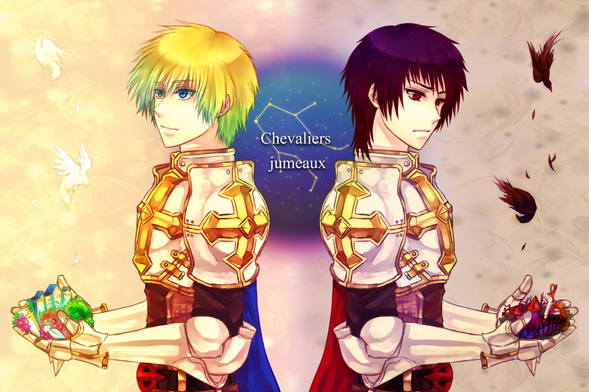 2boys armor bangs bird blonde_hair blue_cape blue_eyes breastplate cape chainmail closed_mouth commentary_request constellation cross dead_animal eyebrows_visible_through_hair flying french_text frown gauntlets gradient_hair graveyard green_hair house looking_to_the_side lord_knight_(ragnarok_online) male_focus multicolored_hair multiple_boys pauldrons planted_sword planted_weapon purple_hair ragnarok_online red_cape red_eyes redhead retgra short_hair shoulder_armor skull smile spiked_gauntlets sword tabard translated tree upper_body weapon