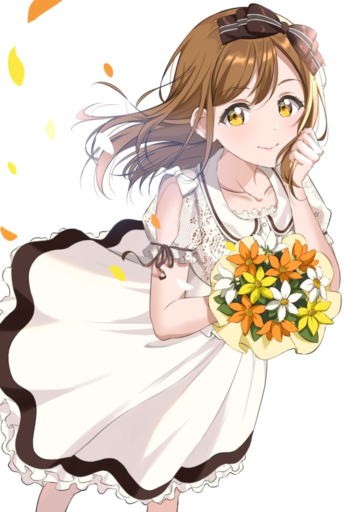 1girl bangs bouquet bow breasts brown_bow brown_hair dress dutch_angle eyebrows_visible_through_hair flower frilled_dress frills gorilla-shi hair_bow hand_on_own_cheek hand_on_own_face holding kunikida_hanamaru long_hair looking_at_viewer love_live! love_live!_sunshine!! orange_flower petals ponytail short_sleeves sidelocks smile solo white_background white_dress white_flower yellow_eyes yellow_flower