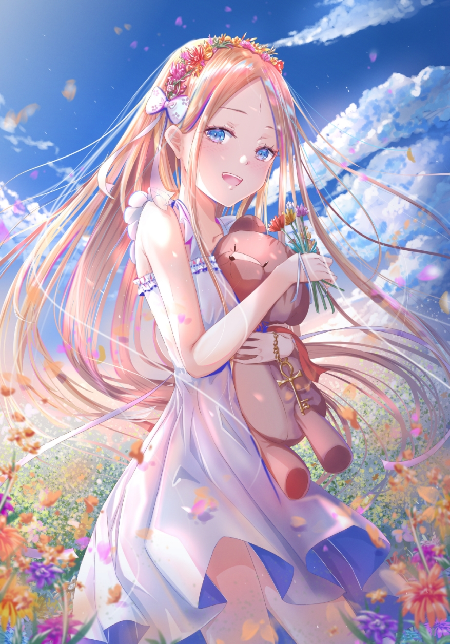 1girl abigail_williams_(fate) bangs bare_shoulders blonde_hair blue_eyes blue_sky blush bow breasts collarbone commentary_request dress fate/grand_order fate_(series) field flower flower_field forehead hair_bow highres key kinom_(sculpturesky) long_hair looking_at_viewer object_hug open_mouth parted_bangs sidelocks sky small_breasts solo stuffed_animal stuffed_toy teddy_bear thighs white_dress
