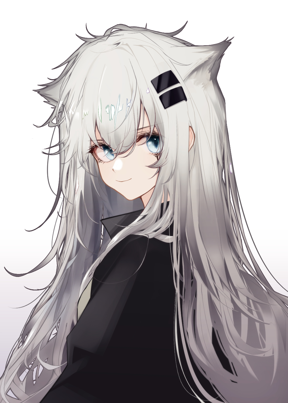 1girl animal_ears arknights bangs blue_eyes closed_mouth eyebrows_visible_through_hair from_side hair_ornament highres lappland_(arknights) looking_at_viewer looking_to_the_side portrait runamonet silver_hair simple_background smile solo white_background wolf_ears wolf_girl