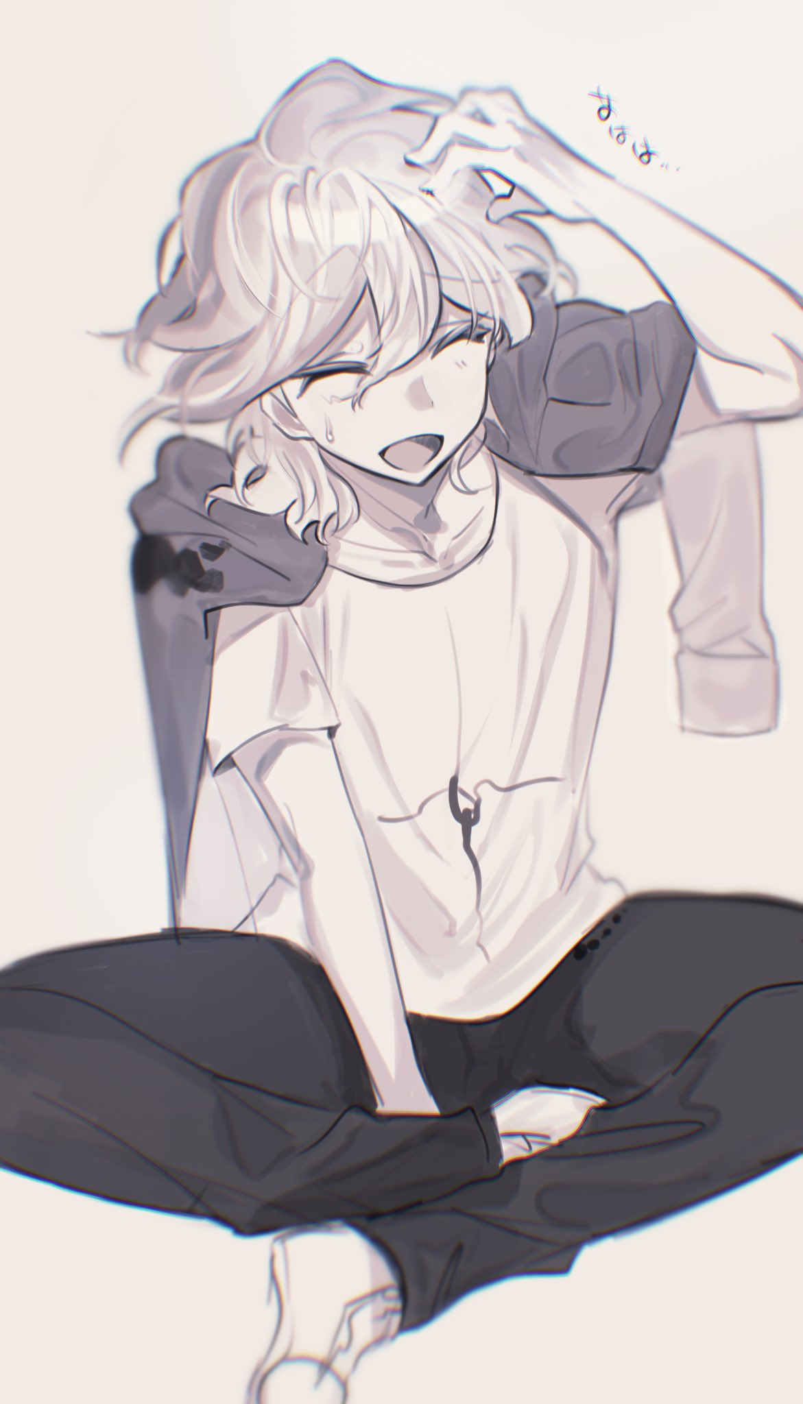 1boy bangs between_legs black_pants blue-bell closed_eyes collarbone danganronpa_(series) danganronpa_2:_goodbye_despair green_jacket grey_hair hand_between_legs hand_up highres indian_style jacket jacket_on_shoulders komaeda_nagito male_focus open_mouth pants print_shirt scratching_head shirt shoes short_hair short_sleeves simple_background sitting smile solo sweatdrop translation_request white_hair white_shirt